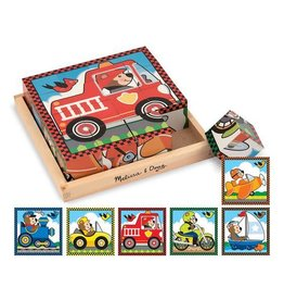 Melissa & Doug Wooden Cube Puzzle Vehicles