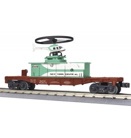 MTH - RailKing Operating Helicopter Flatcar - 3-Rail - Ready to Run - RailKing(R) -- New York Central #753015 (Boxcar Red, Jade Green, white)