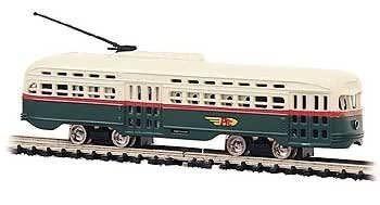 BAC #62995, Bachmann N Scale PCC Trolley, PTC/Green/Cream