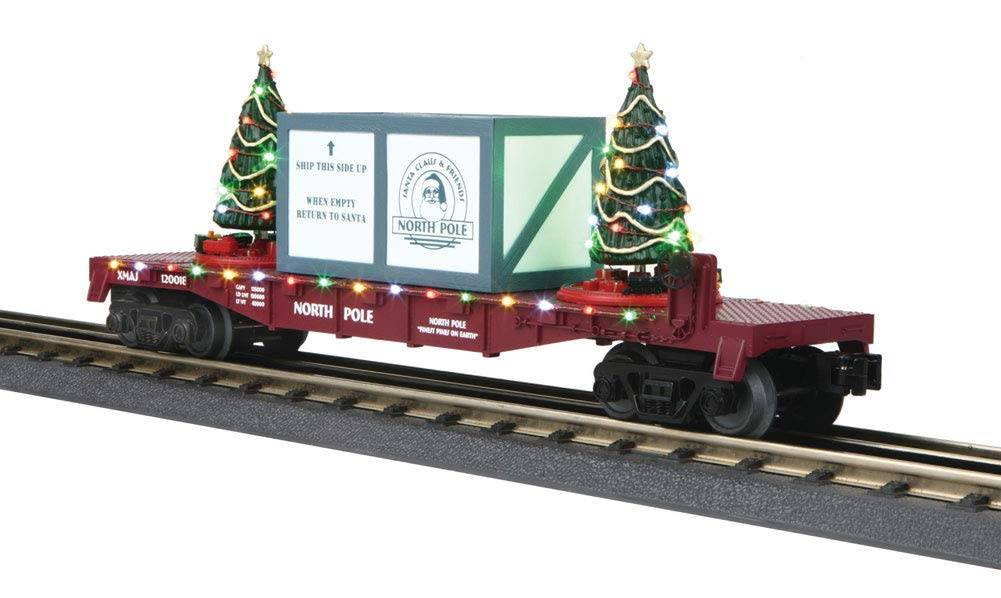 MTH #30-76735, North Pole Lighted Flatcar-Maroon W/Blue Package