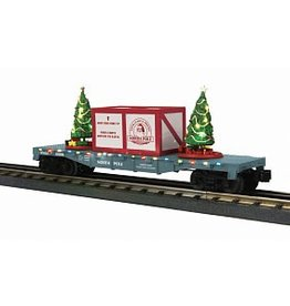 MTH #30-76736, North Pole Lighted Flatcar-Blue with Maroon Package