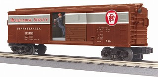 MTH - RailKing #30-79633, PRR Merchandise Service Operating Box Car w/Signalman