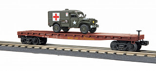 MTH - RailKing #30-76742, Flatcarw/(1)Dodge WC54 Ambulance