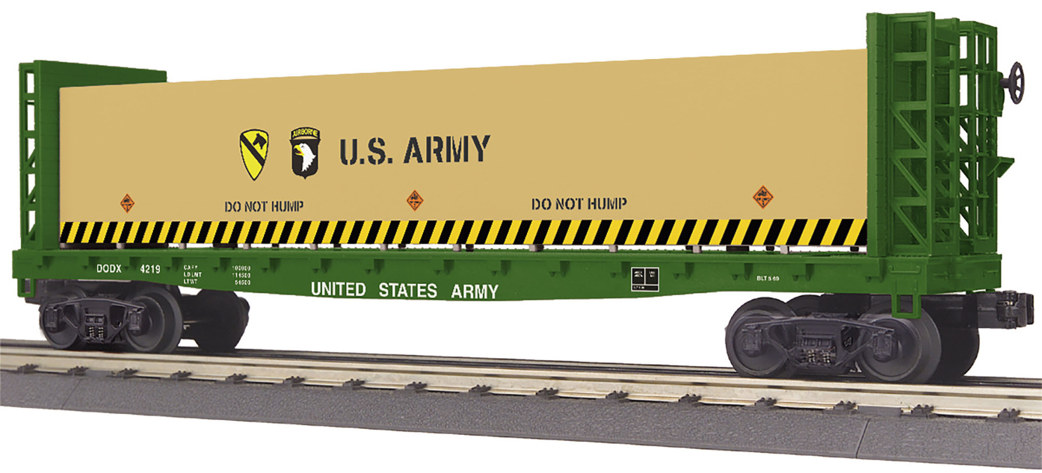 MTH - RailKing U.S. Army Bulkhead Flat Car w/ Lumber Load