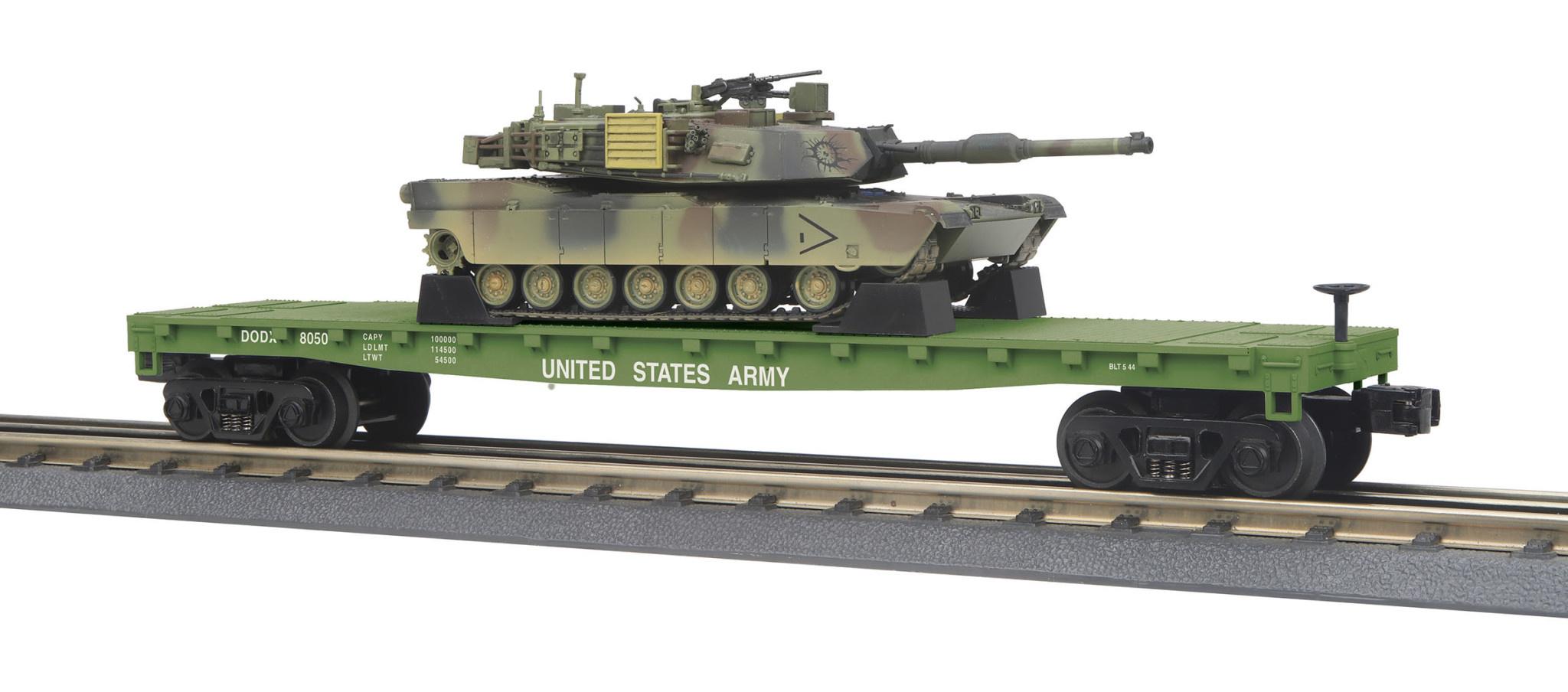 MTH - RailKing 30-76770 U.S. Army Flat Car w/(1) M1A Abrams Tank