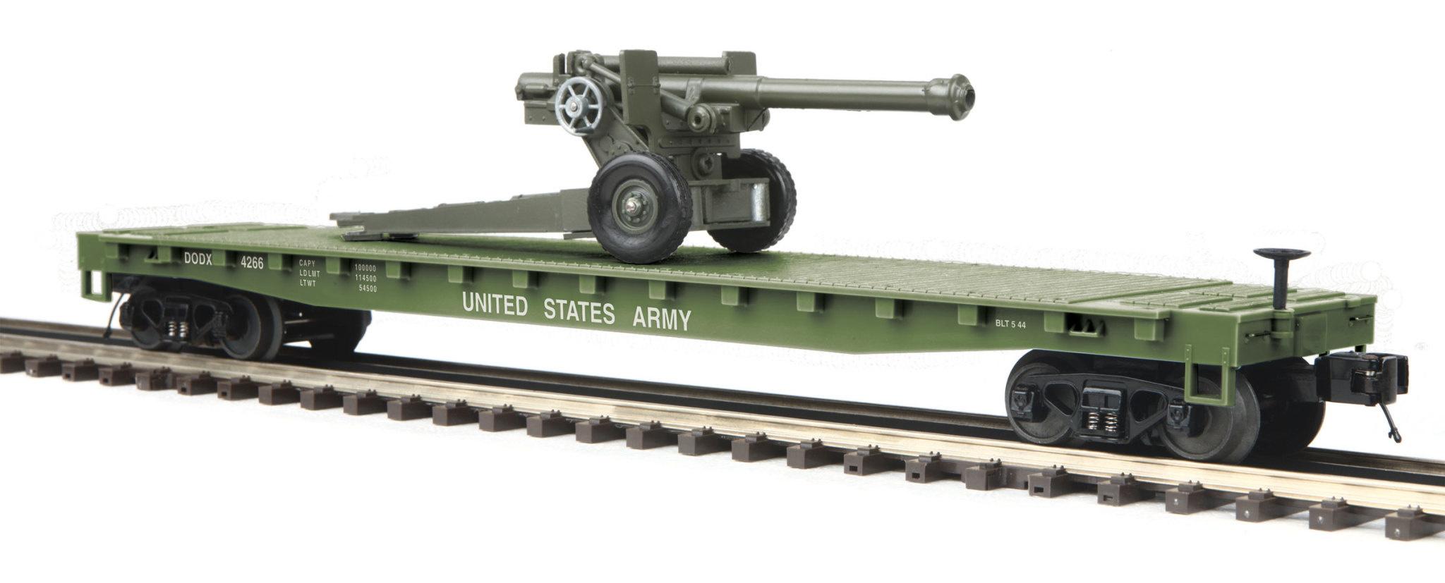 MTH - RailKing 30-76771 U.S. Army Flat Car w(1) 105mm Howitzer