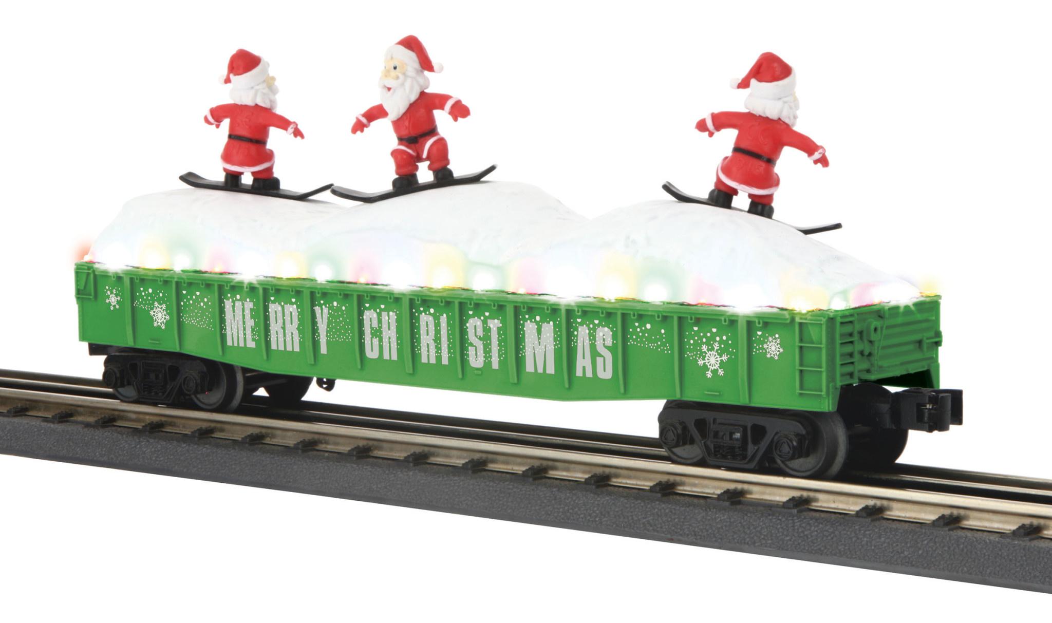 MTH - RailKing #30-72195, MTH Christmas Gondola with Skiing Santas (Green)