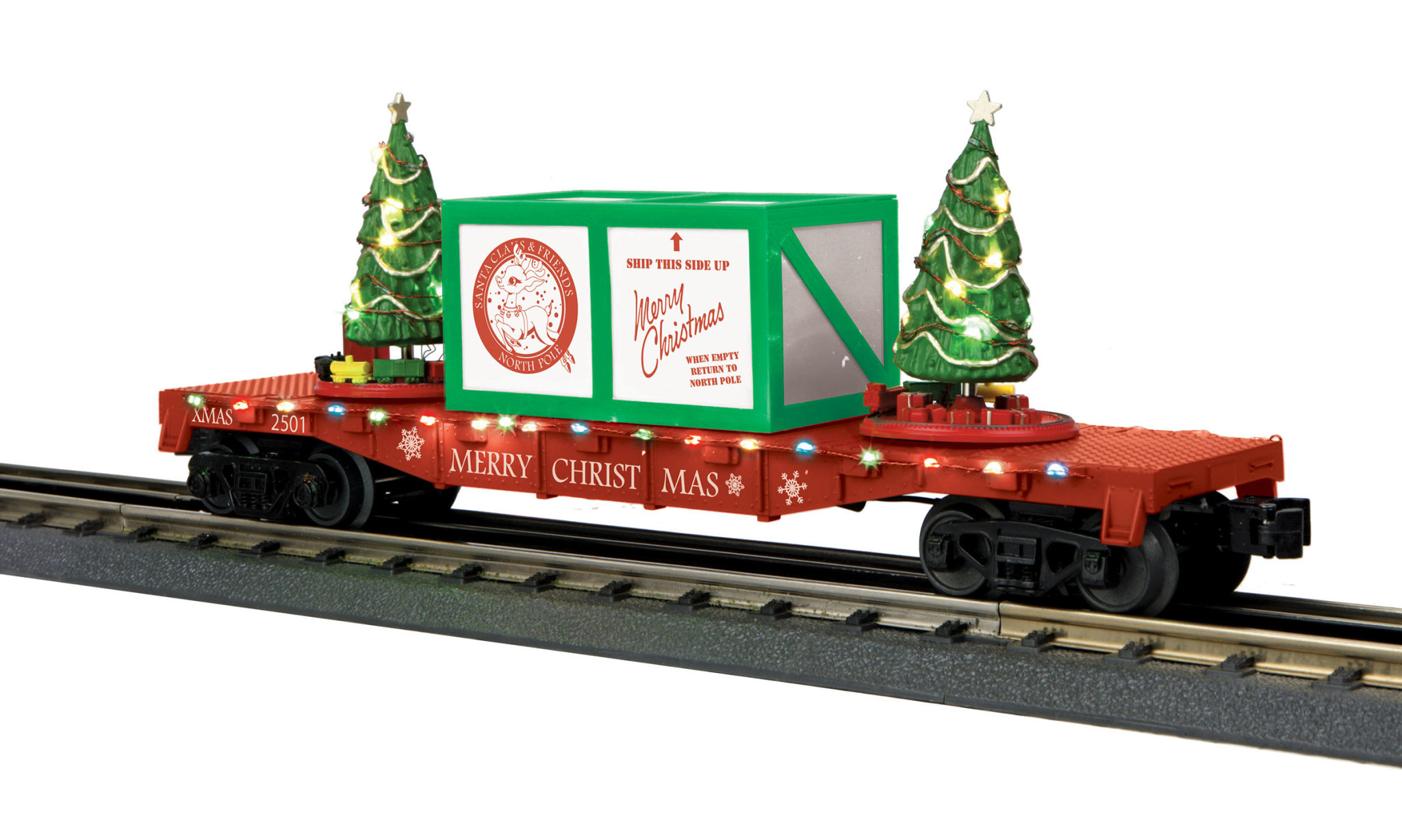 MTH - RailKing #30-76772, MTH Christmas Flatcar with Lighted Trees (red)