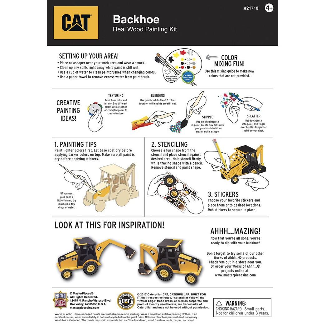 Dr Toys CAT BACKHOE LICENSED WOOD PAINT KIT
