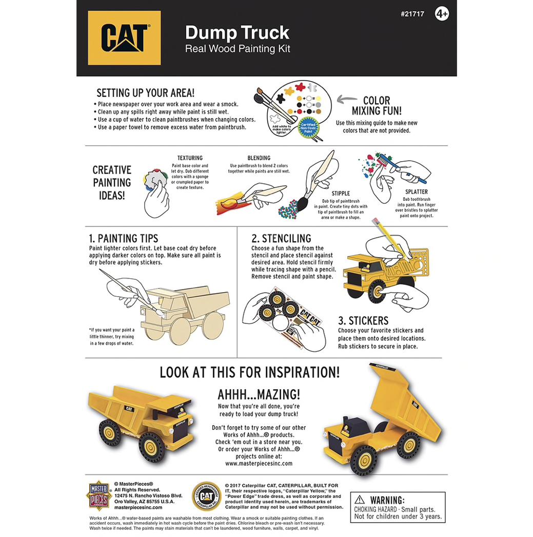Dr Toys CAT DUMP TRUCK LICENSED WOOD PAINT KIT