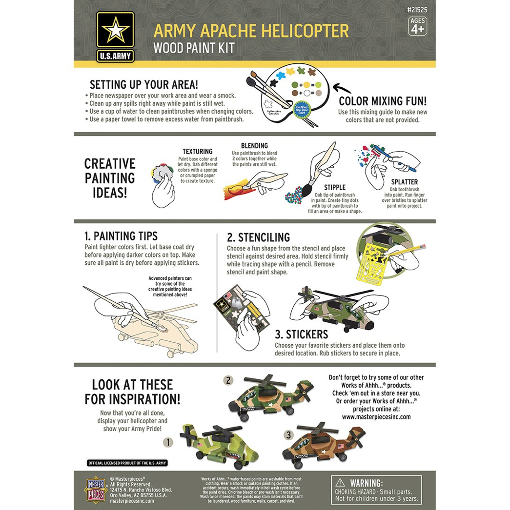 Dr Toys U.S. ARMY APACHE HELICOPTER LICENSED WOOD PAINT KIT
