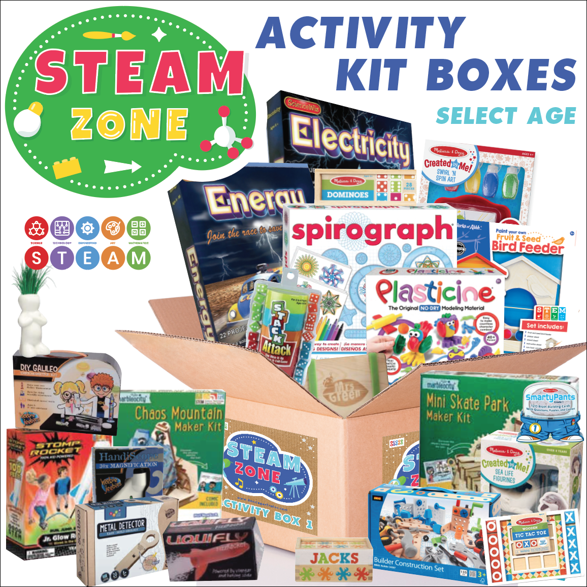 Bussinger Trains S.T.E.A.M Activity Kit Box - THREE