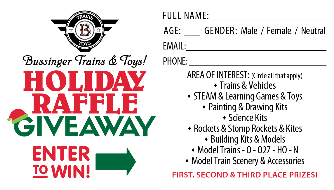 Bussinger Trains Holiday Raffle Entry Ticket