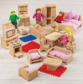 Big Jig Toys Doll Family and Furniture - 26 pc