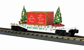 MTH - RailKing #30-76823, MTH Flatcar with Lighted Christmas Trees, White