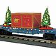 MTH - RailKing #30-76824, MTH North Pole Flat Car with Lighted Christmas Trees, Blue