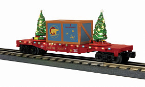 MTH - RailKing #30-76825, MTH North Pole Flat Car with Lighted Christmas Trees, Maroon
