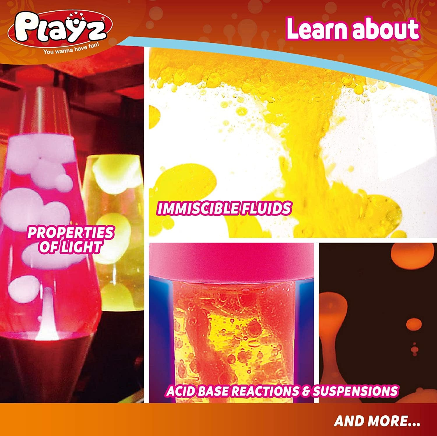 Playz Lava Lamp & Glitter Tube Arts and Craft Science Activity Set
