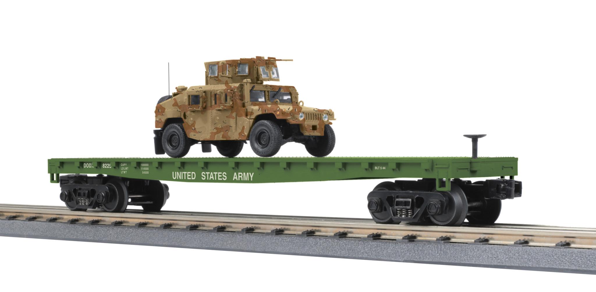 MTH - RailKing O US Army Flatcar w/Humvee #8225 - 30-76835