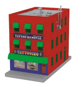 MTH - RailKing O What were you inking - Tattoo Removal 3-Story City Building