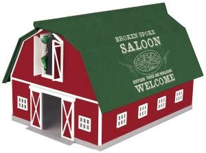 MTH - RailKing 3090602 - Barn Red w/ Green Roof SALOON