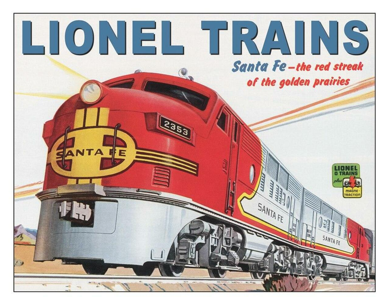 "Desperate Enterprises Lionel Santa Fe - Tin 16""Wx12.5""H"