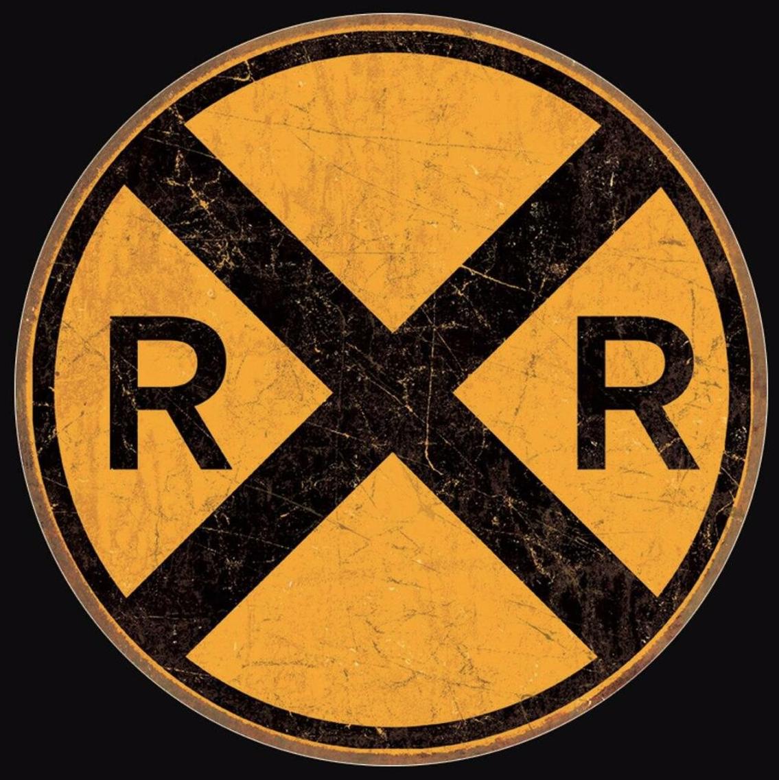 Desperate Enterprises Rail Road Crossing - Round - Tin