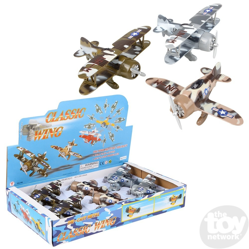 """6.5"""" Diecast Pull Back Camouflage Biplane"""