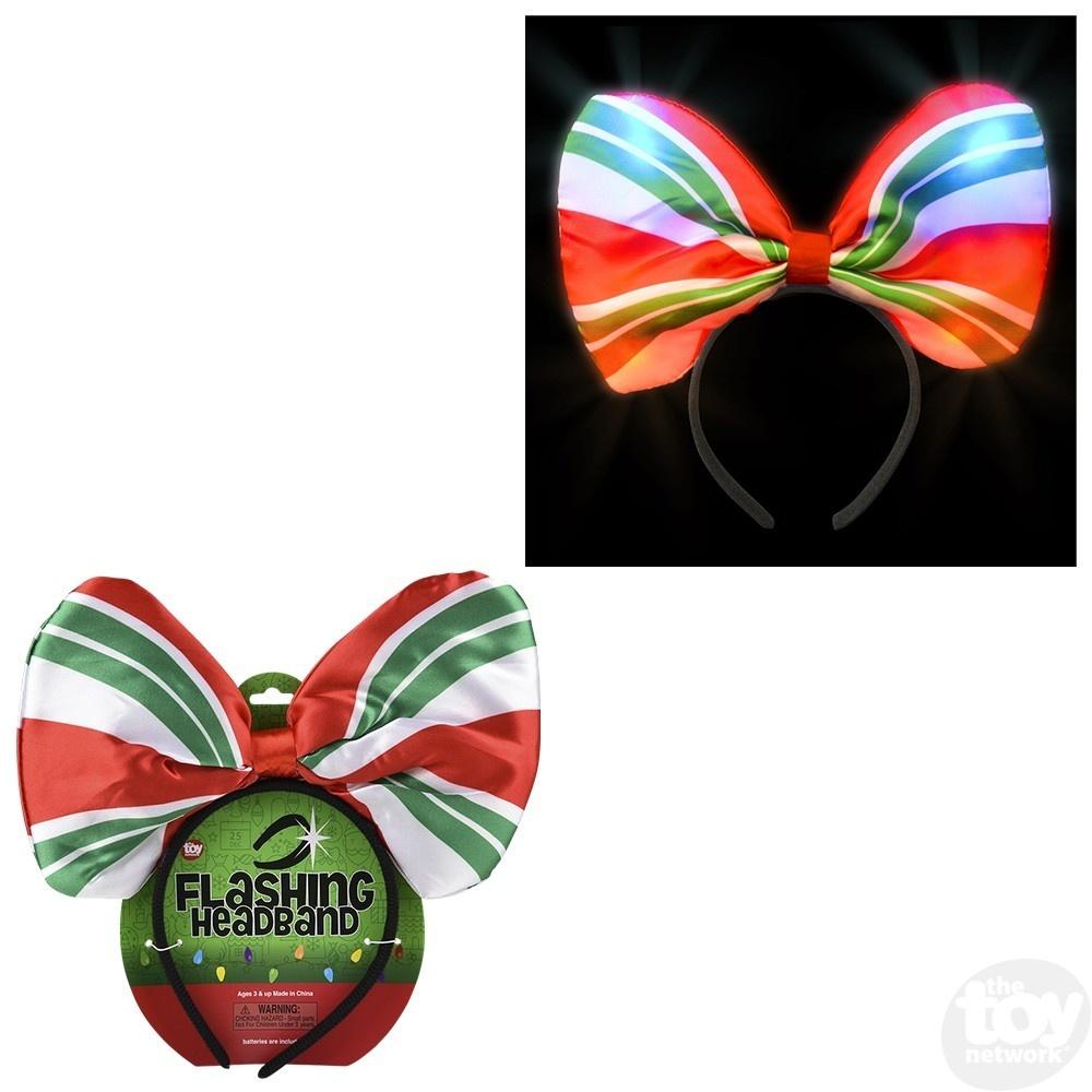 "10"" Peppermint Light-up Bow Headband"