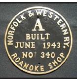 CUSTOM 26208 - NORFOLK & WESTERN BUILILDER PLATE - A