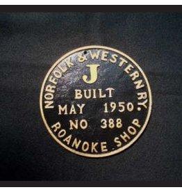 CUSTOM 26209 - NORFOLK & WESTERN BUILILDER PLATE - J