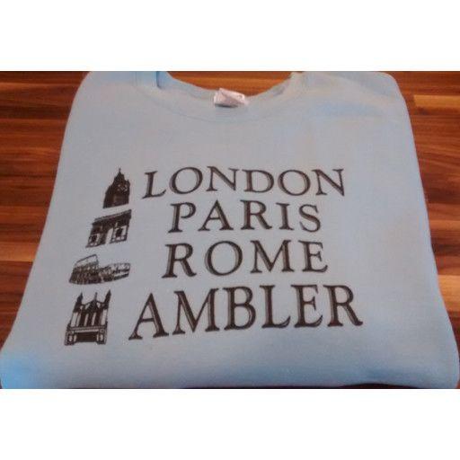 Choo Choo's BLUE - MEDIUM - London, Paris, Rome, Ambler SWEATSHIRT