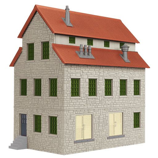 MTH - RailKing 3090188 - GRAYSTONE GRANERY - w/Red Oxide Roof