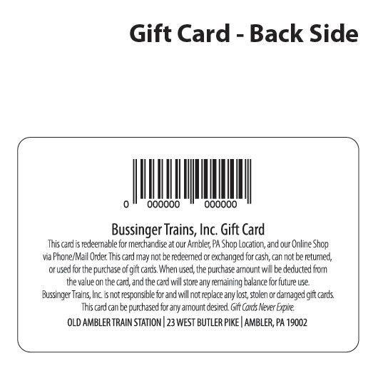 Bussinger Trains $50 Gift Card