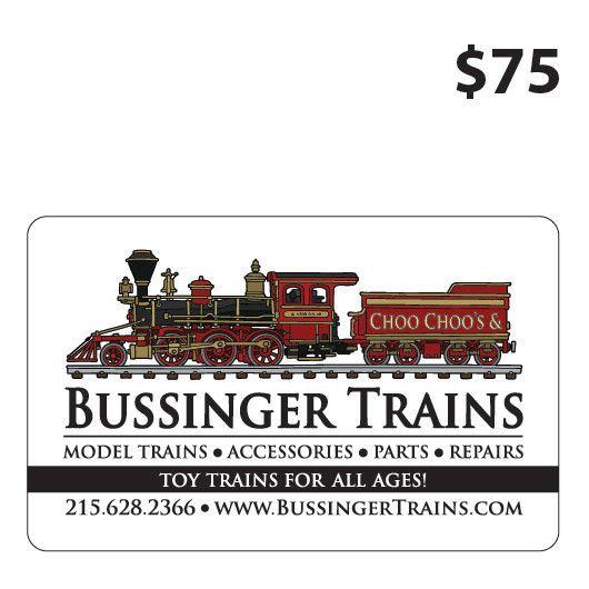 Bussinger Trains $75 Gift Card