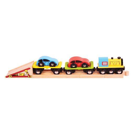 Big Jig Toys CAR LOADER WOODEN TRAIN SET
