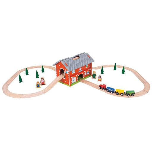 Big Jig Toys RAILWAY STATION CARRY SET - WOODEN TRAIN SET w/ TRACK