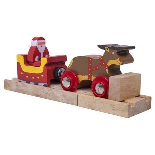 Big Jig Toys SANTA SLEIGH WITH REINDEER - WOODEN TRAIN