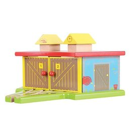 Big Jig Toys TRIPLE ENGINE SHED - WOODEN TRAIN ACCESSORY