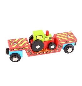 Big Jig Toys TRACTOR LOW LOADER - WOODEN TRAIN CAR