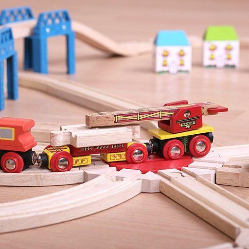 Big Jig Toys TRACK LAYING WAGON - WOODEN TRAIN CAR