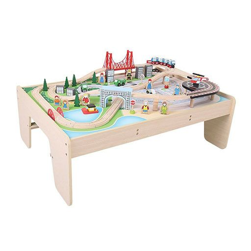 Big Jig Toys CITY TRAIN SET & TABLE - WOODEN PLAYSET