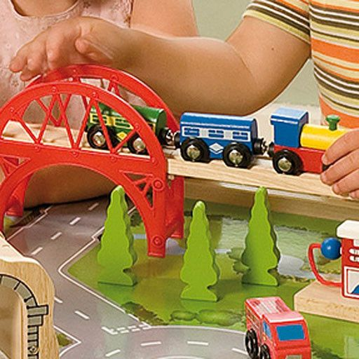 Big Jig Toys SERVICES TRAIN SET & TABLE - WOODEN PLAYSET