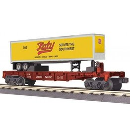 MTH - RailKing 30-76661 O Gauge RailKing Flat Car w/40' Trailer Union Pacific