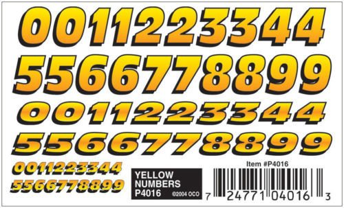 4016	 - 	PINECAR YELLOW NUMBERS