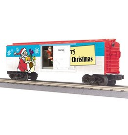 MTH - RailKing 3079336	 - 	BOX CAR CHRISTMAS W/ SIGNAL MAN