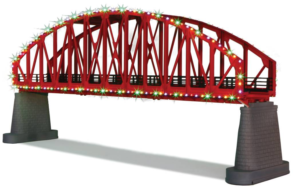 MTH - RailKing 40-1115 Red Steel Arch Bridge with oper. Xmas lights