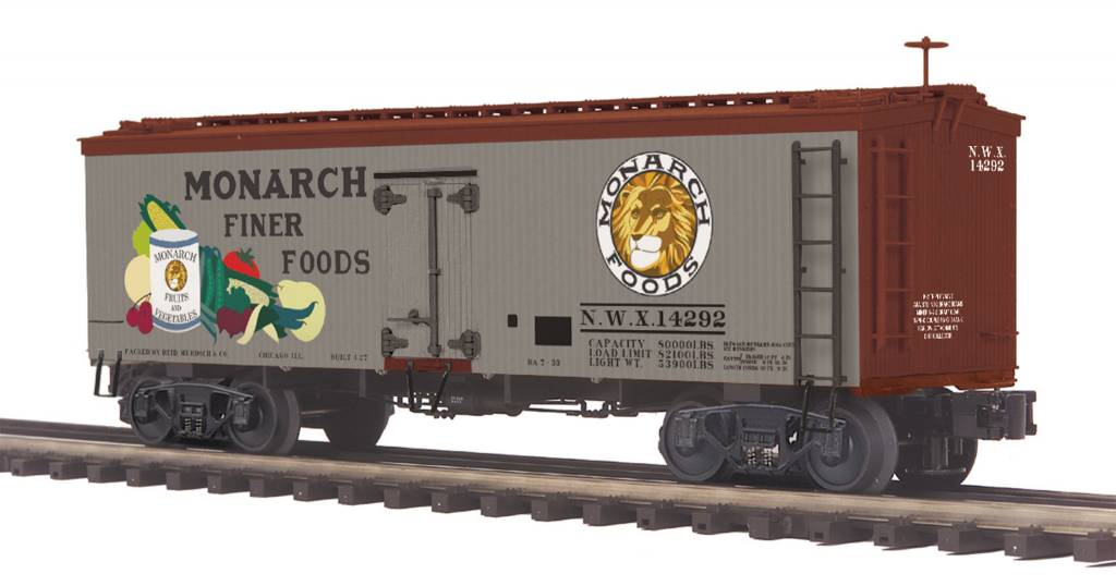 MTH - Premier Monarch Foods 36' Woodsided Reefer Car 20-94415