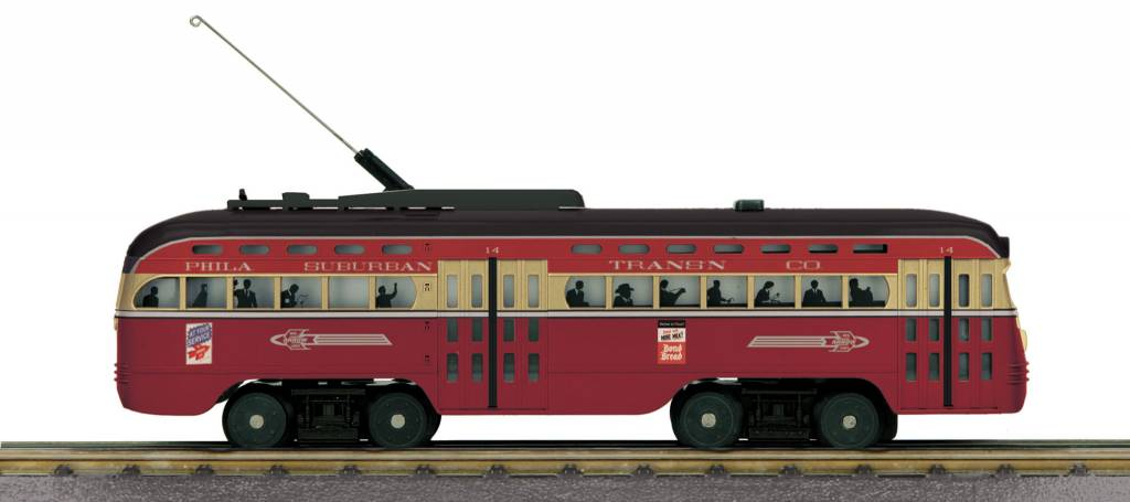 MTH - RailKing #30-5163-1 Philadelphia Suburban Trans. Co., Red Arrow Division, PCC Electric Street Car W/Protosound 3.0