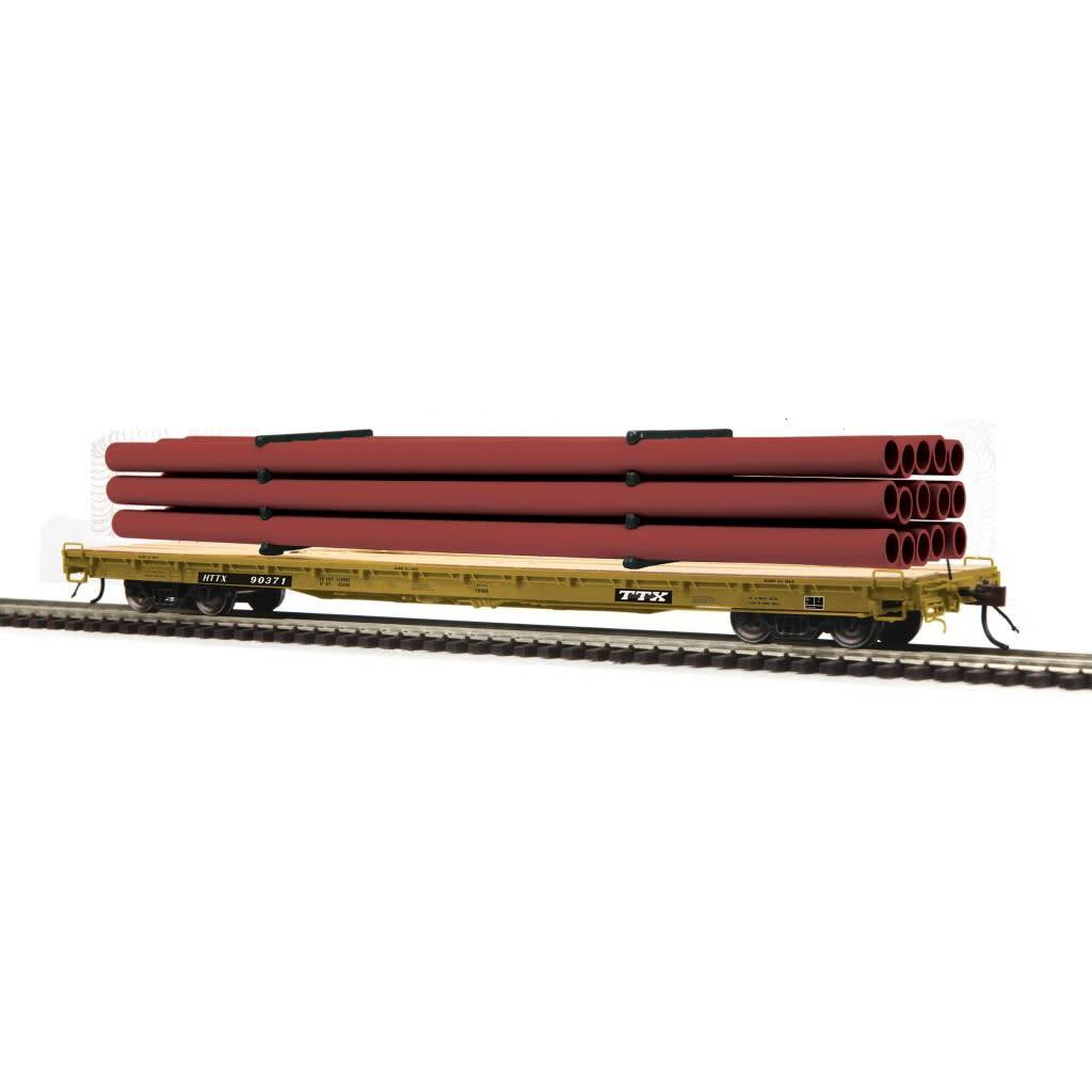 MTH - HO #80-98047, HO TTX (#90280) 60' Wood Deck Flat Car with Maroon Pipe Load
